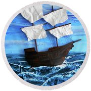 Round Beach Towel featuring the mixed media Ship by Angela Stout