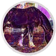 Round Beach Towel featuring the digital art Shire Horse Horse Coupling  by PixBreak Art