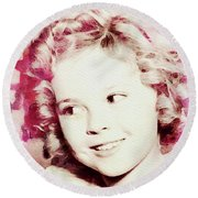 Shirley Temple, Vintage Actress Round Beach Towel
