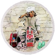 Round Beach Towel featuring the digital art Shoeshine Girl - Nile River, Egypt by Joseph Hendrix