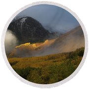 Round Beach Towel featuring the photograph Siever's Mountain by Steve Stuller