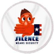 Silence Means Security Round Beach Towel