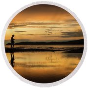 Silhouette In Sunset Round Beach Towel