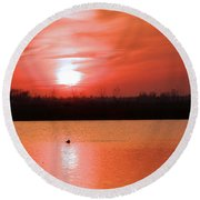 Silky Sunset Round Beach Towel