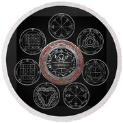 Silver Seal Of Solomon Over Seven Pentacles Of Saturn On Black Canvas  Round Beach Towel