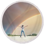 Sing Me A Rainbow Round Beach Towel