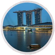 Singapore Harbour Round Beach Towel by Jocelyn Kahawai