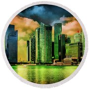 Singapore Skyline Round Beach Towel by Joseph Hollingsworth