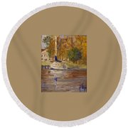 Single Sailboat Round Beach Towel