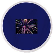 Sister Bay Fireworks Round Beach Towel
