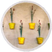 Six Flower Pots On The Wall Round Beach Towel by Gary Slawsky