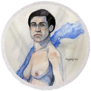 Round Beach Towel featuring the painting Sketch For Gabrielle by Ray Agius