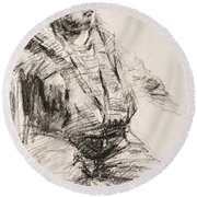 Sketch Man 20 Round Beach Towel