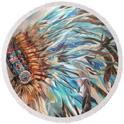Sky Feather Round Beach Towel
