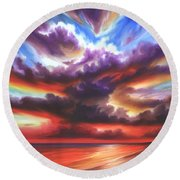 Skyburst Round Beach Towel by James Christopher Hill