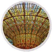 Skylight In Palace Of Catalan Music  Round Beach Towel