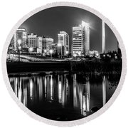Skyline Of Birmingham Alabama From Railroad Park Round Beach Towel