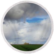 Round Beach Towel featuring the photograph Skyward by Laurie Search