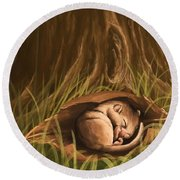 Round Beach Towel featuring the painting Sleeping  by Veronica Minozzi