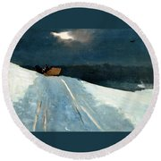 Round Beach Towel featuring the painting Sleigh Ride by Winslow Homer