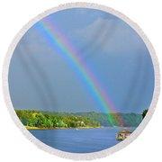 Smith Mountain Lake Rainbow Round Beach Towel
