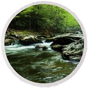 Round Beach Towel featuring the photograph Smoky Mountain River by Jay Stockhaus