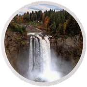 Snoqualmie Falls Round Beach Towel by Chris Anderson