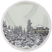 Round Beach Towel featuring the photograph Snow In July by Teresa Zieba