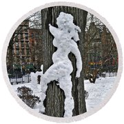 Round Beach Towel featuring the photograph Snow Lady by Joan Reese
