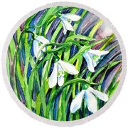 Round Beach Towel featuring the painting Snowdrops In The Wind   by Trudi Doyle