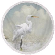 Snowy Egret 2 Round Beach Towel