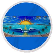 Socal Sunset Round Beach Towel