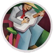 Solo Singer Round Beach Towel by Lance Headlee