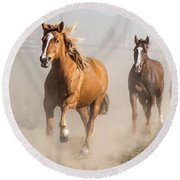 Sombrero Ranch Horse Drive At The Corrals Round Beach Towel