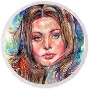 Sophia Loren Painting Round Beach Towel