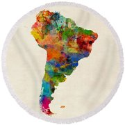 South America Watercolor Map Round Beach Towel