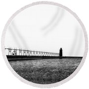 South Haven Pierhead Lighthouse Round Beach Towel