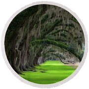 Round Beach Towel featuring the photograph Southern Oaks by Serge Skiba