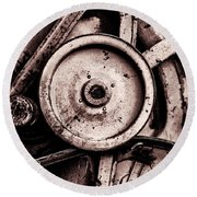 Soviet Ussr Combine Harvester Abstract Cogs In Monochrome Round Beach Towel
