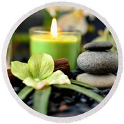 Spa Rocks And Candles Round Beach Towel by Serena King
