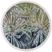 Spider Mums Round Beach Towel by Donald Maier