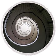 Round Beach Towel featuring the photograph Spiral Staircase In Brown Tones by Jaroslaw Blaminsky