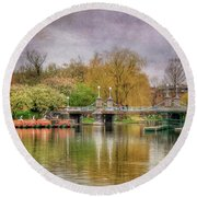 Round Beach Towel featuring the photograph Spring In The Boston Public Garden by Joann Vitali