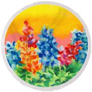Spring Wildflowers Round Beach Towel by Stephen Anderson