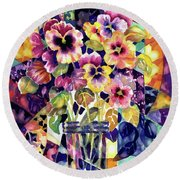 Stained Glass Pansies Round Beach Towel