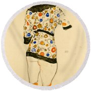 Standing Woman In A Patterned Blouse Round Beach Towel