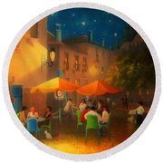 Starry Night Cafe Society Round Beach Towel by Joe Gilronan