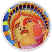 Round Beach Towel featuring the painting Statue Of Liberty by Joseph J Stevens