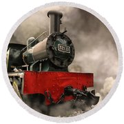 Steam Engine Round Beach Towel by Charuhas Images