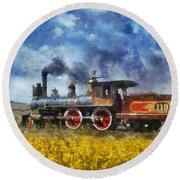 Round Beach Towel featuring the photograph Steam Locomotive by Ian Mitchell